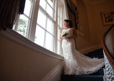 bride on stairs wedding photography