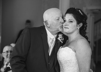 emotional kiss at Northamptonshire wedding cermony